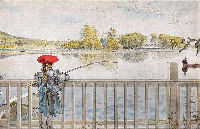 """""""Lisbeth Fishing"""" by Carl Larsson"""