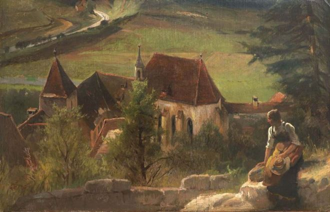 """""""View of the Old Augustinian Monastery in Pappenheim"""" by Karl Raupp"""