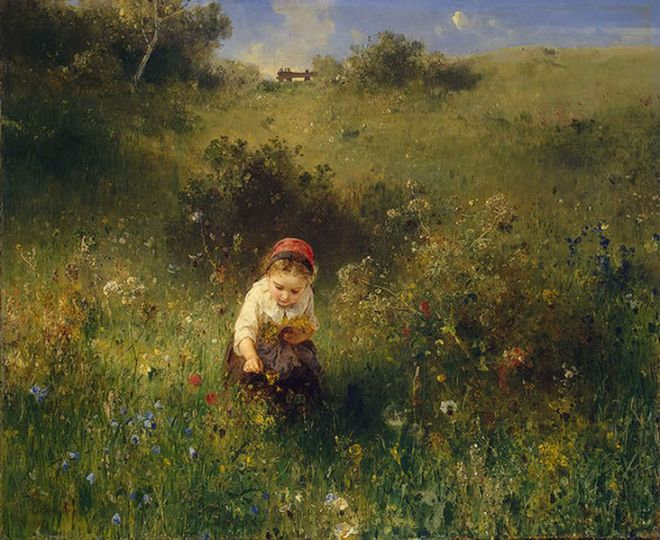 """Girl in a Field"" by Ludwig Knaus"