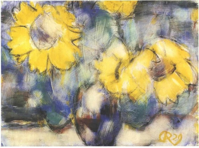 """Sunflowers in a Blue Vase"" by Christian Rohlfs"