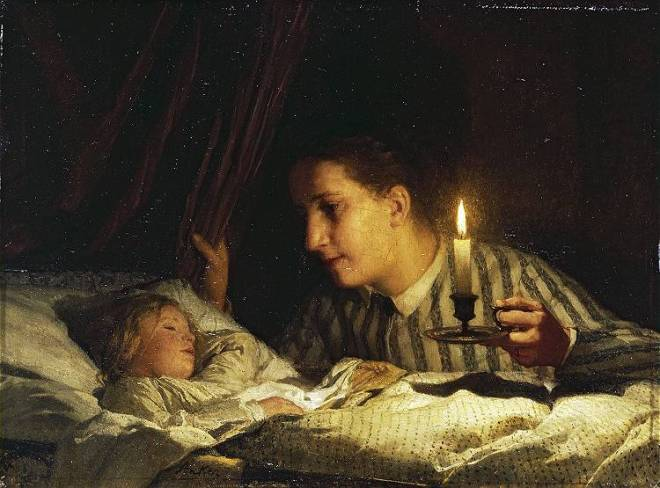 """Young Mother Contemplating Her Sleeping Child in Candlelight"" by Albert Anker"
