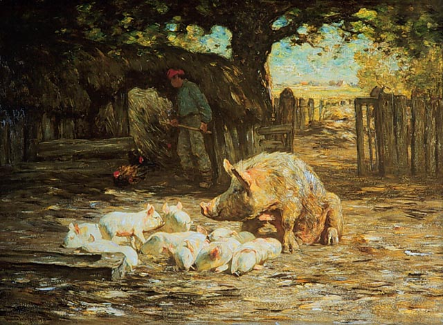 """Little White Pigs and Mother"" by Horatio Walker"
