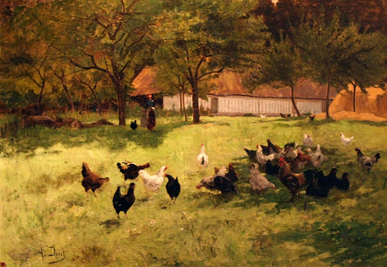 """Landscape with Chickens"" by Auguste Durst"