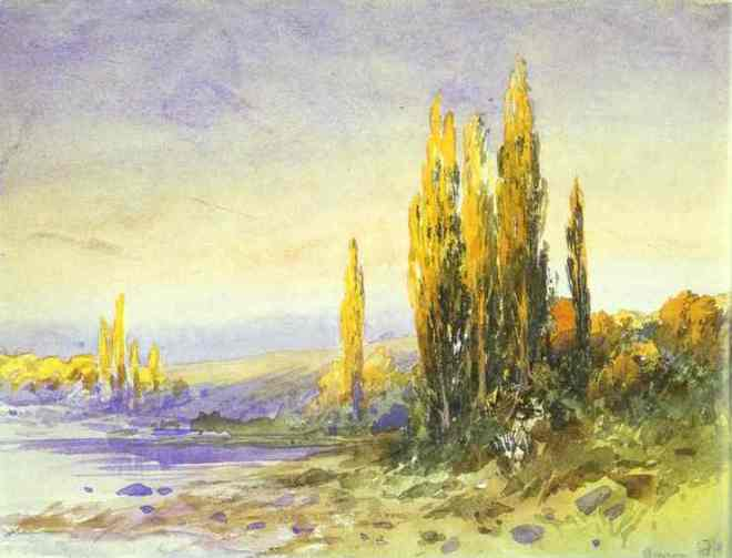 """Lombardy Poplars on the Bank of a Lake"" by Fyodor Vasilyev"