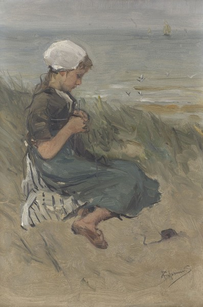 """Knitting Girl on a Dune"" by Bernard Blommers"
