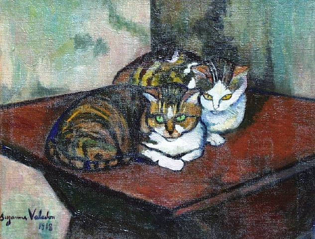 """Two Cats"" by Suzanne Valadon"