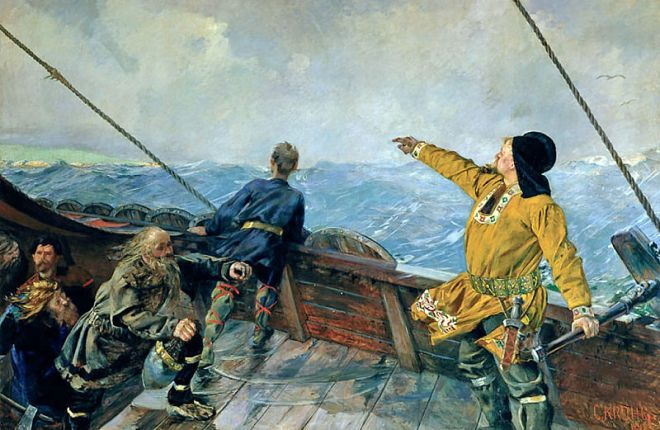 """Leif Erikson Discovers America"" by Christian Krohg"