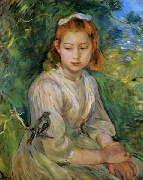 """Young Girl with a Bird"" by Berthe Morisot"