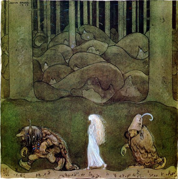 """One night in midsummer they went with Bianca Maria deep into Skogen"" by John Bauer (1882-1918) Swedish Illustrator"