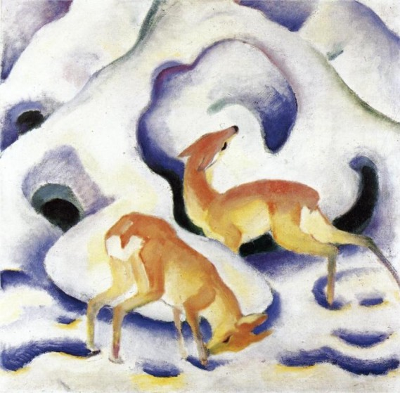 """Deer in the Snow"" by Franz Marc"