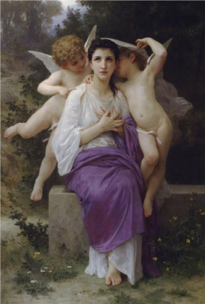 """The Awakening of the Heart"" by William-Adolphe Bouguereau (1825–1905) French Academic Painter"