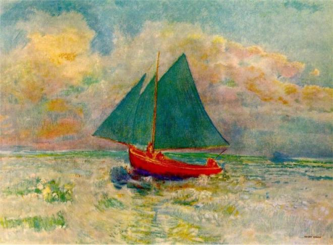 """""""Red Boat with Blue Sails"""" by Odilon Redon (1840-1916) French Symbolist Painter & Printmaker"""