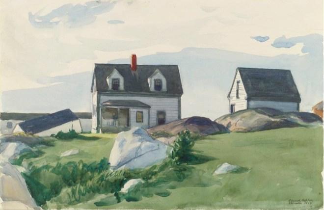 """Houses of Squam Light, Gloucester"" by Edward Hopper (1882-1967) American Realist Painter & Printmaker"