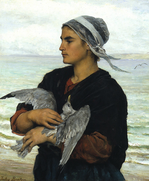 """The Wounded Sea Gull"" by Jules Breton (1827–1906) French Realist Painter"