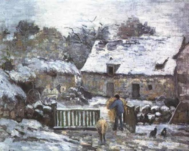 """""""Farm at Montfoucault 2"""" by Camille Pissarro (1830-1903) French Impressionist & Neo-Impressionist Painter"""