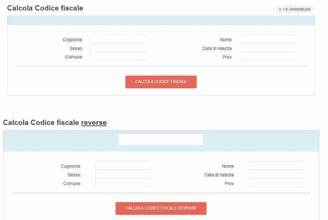 calcolo codice fiscale e codice fiscale reverse