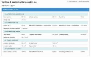 app screen - taglio ca output calcolo e verifica - ingegnerone.com