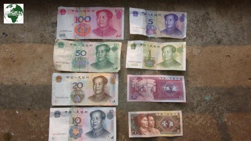 100 Yuan (90 Dkr) seddel er den største fordi pengesedlerne bliver kopieret hele tiden.