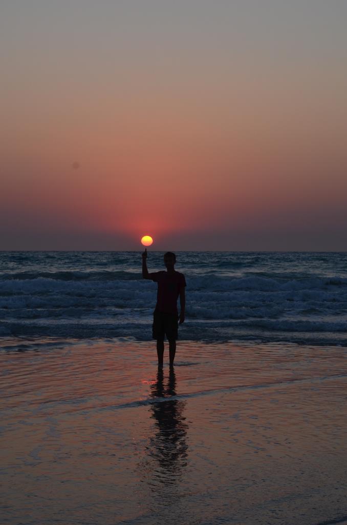 Lidt leg med kameraet ved solnedgang