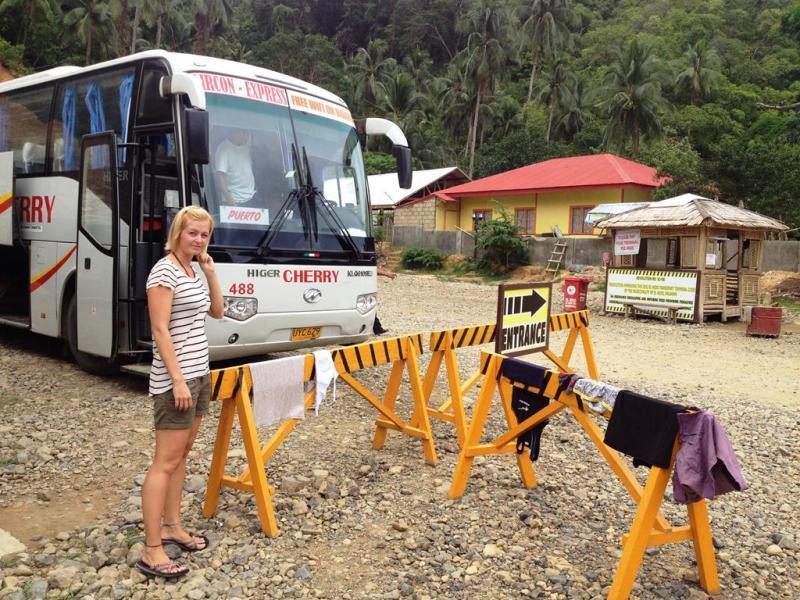 Tørre vores tøj, mens vi venter på bussen.