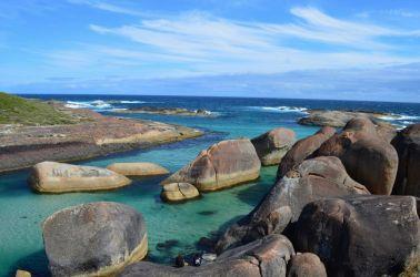 Australien, elephant head rock, smukt, sten, strand, beach