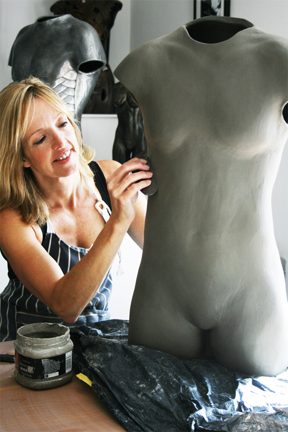 Louise Giblin working on Beth Tweddle MBE clay piece