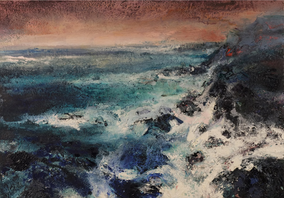 Nicol Rose; Receding Storm, 100x70cm, sand, oil on canvas