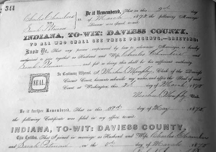 Clark County Indiana Marriage Certificate
