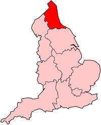 Mapa del noreste de Inglaterra