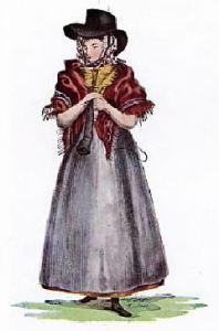 Mujer con vestimenta de Gales