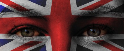 Rostro con la bandera del Reino Unido