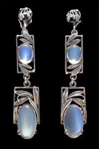 Silver and moonstone earrings by Bernard Instone, sold by Tadema Gallery.