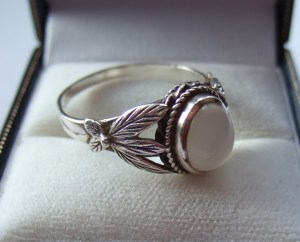 Rare antique Bernard Instone ring Sterling silver and moonstone ring 6