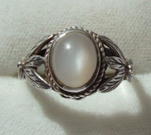 Rare antique Bernard Instone ring Sterling silver and moonstone ring 9