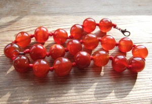 Vintage carnelian agate big bead necklace.