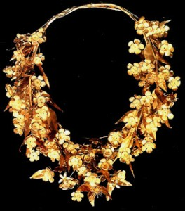 Wreath of gold myrtle leaves and flowers, found in the tomb of Philip II of Macedon at Vergina, Greece.