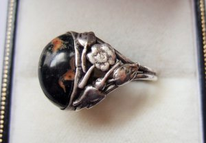 Jasper and silver Arts and crafts ring.