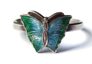 Vintage guilloche enamel and silver butterfly ring,
