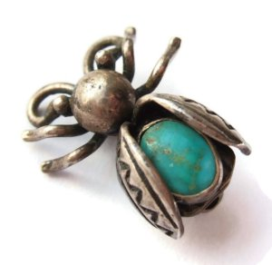 Sterling silver and turquoise insect brooch, for sale in my Etsy shop.