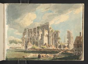 'Malmesbury Abbey from the North-West' by Joseph Mallord William Turner, 1791. Watercolour on paper. One of a series of sketches Turner painted of the Abbey.
