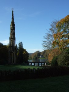 The Bristol Cross, the Palladian Bridge and over on the other side of the lake, the Pantheon.
