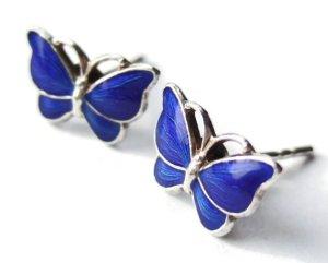 Volme Bahner enamel and silver butterfly earrings, Denmark. (NOW SOLD).