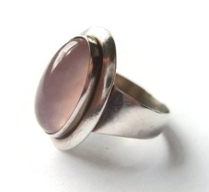 N E From rose quartz modernist ring. For sale in my Etsy shop: click on photos for details.