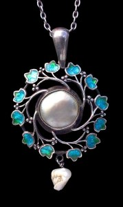 Jessie M King for Liberty & Co. Silver pearl and enamel pendant. Liberty model number 9257. Sold by Tadema Gallery.