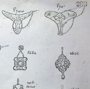 Some of Jessie M King's jewellery designs in the Liberty book.