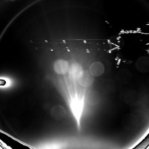 Shortly after parting from Rosetta, the lander Philae took a shot of its mothership., Rosetta, here seen above the sun flare.