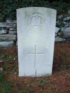 The headstone of Private E W Cuff, who died on
