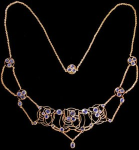 Jessie M King design for Liberty & Co. A Glasgow School gold and sapphire necklace, Liberty pattern Book model 8498. Sold by Van Den Bosch.