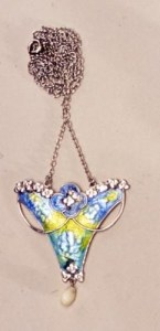 Pendant necklace of silver, enamel and mother of pearl, designed by Jessie Marion King for Liberty & Co, 1904-1906. Collection of Cheltenham Art Gallery & Museum, UK.
