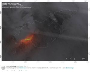 The Holuhraun lavafield (outlined) with the ongoing eruption.  Source: University of Iceland Twitter account.